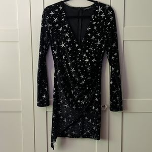 NWT Black Faux Velvet Dress with Silver Stars